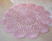 Large crochet doily Pink linen lace doilies Pineapple crochet doilies Crochet table decoration