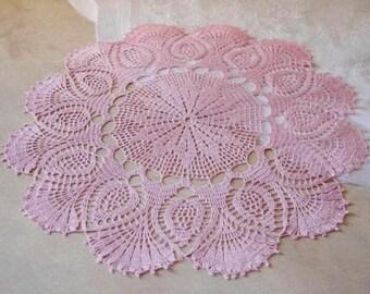 Large crochet doily Pink linen lace doilies Pineapple crochet doilies Crochet table decoration