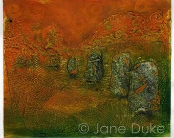 Avebury Stone Circle Collagraph Original Print Handpulled Unframed