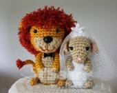 PATTERN Instant Download O-So-Cute Lion and Lamb Wedding Topper Crochet Amigurumi