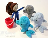 BUNDLE Instant Download PATTERN Molly the Dolphin Trainer and the O-so-Cute Goose Shaka Lily Crochet Amigurumi doll