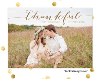 Thankful - Thanksgiving Photo Card - Custom and Personalized for the Holidays - Happy Thanksgiving - Family Photo