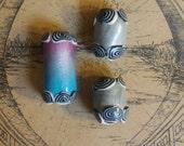Metallic Silver, Pink and Blue Deadlock Bead Set of 3