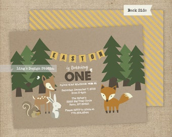 Woodland Invitation / Woodland Birthday Invitation Set | Printable or Printed