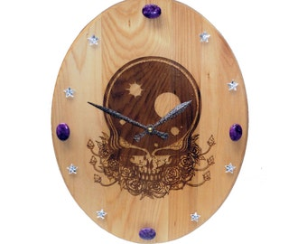 Wood burned clock / Space Your Face with genuine gemstones Art