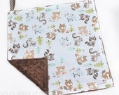 "Baby Lovey Blanket - Blue and Brown Woodland Animals Lovey 15""x15"" - Ready to Ship"
