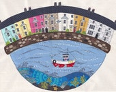 A4 print of original textile artwork 'Beaumaris Houses'. Applique and free motion machine embroidery. Sea, boat and houses in Anglesey.