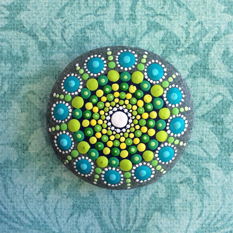 jewel drop mandala painted stone sea urchin fern unfurl. Black Bedroom Furniture Sets. Home Design Ideas