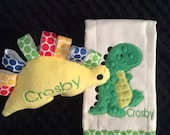 Dinosaur Burp cloth and Toy Set