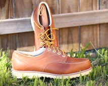 Men's Vintage Engineer Workboots w/ Moc Toe and Crepe Wedge Sole by Sears Sz: 12