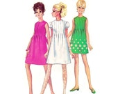 1960s Dress Pattern Simplicity 7633, Tucked Bodice, Back Tie Sash, Puff Sleeve, Kawaii Mini Dress, 1968 Vintage Sewing Pattern Bust 31