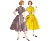 1950s Dress Pattern McCall's 9833, Front Buttoning Dress with Full Skirt, Standing Mandarin Collar, 1954 Vintage Sewing Pattern Bust 30