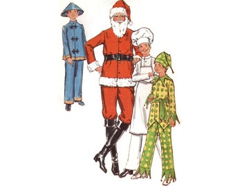 1970s Boys Costume Pattern Butterick 6399, Santa Claus, Court Jester Harlequin, Chef, Chinese Man, Vintage Sewing Pattern Size 12 Uncut