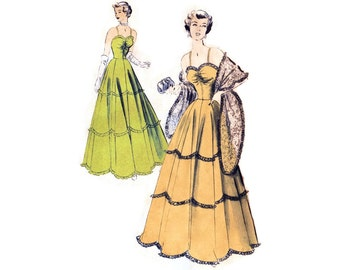 1940s Evening Dress Pattern Advance 5048, Ball Gown, Sweetheart Neckline, Scallop Ruffles, Lace Stole, Vintage Sewing Pattern Bust 34