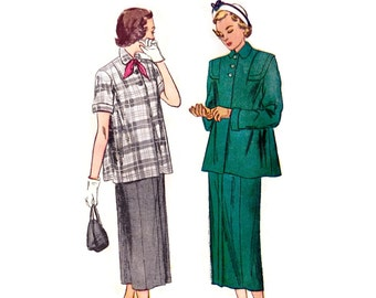 1940s Maternity Pattern Simplicity 2689, 2 Piece Suit: Box Jacket Long or Short Sleeve, Slim Skirt, 1949 Vintage Sewing Pattern Bust 32