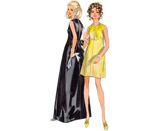 1960s Evening Dress Pattern Butterick 5548, Open Back Gown or Cocktail Dress, Mod Shaped Seaming, Bow, Vintage Sewing Pattern Bust 32.5