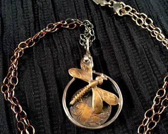 Brass and sterling silver dragonfly necklace