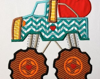 Monster Truck Heart APPLIQUE Embroidery Design  INSTANT DOWNLOAD