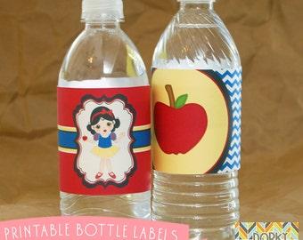 Snow White Birthday Party Printable Bottle Labels PDF - Printable Party Supplies - Princess Party DIY