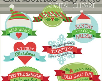Christmas Clipart Christmas Sayings -Personal and Limited Commercial Use- Christmas Banners, Holiday Clip art
