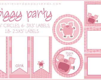 PIg Labels Printable PDF - Printable Party Supplies - Pink Piggy Birthday Party DIY