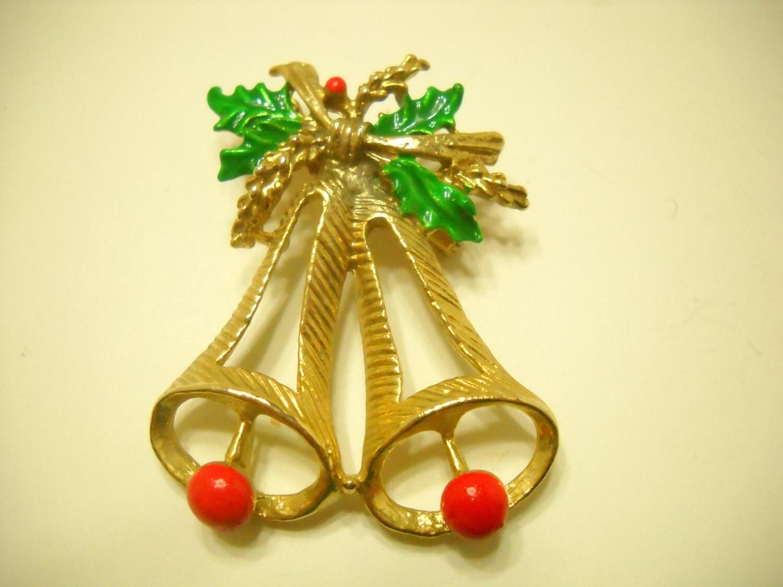 Vintage christmas bells brooch taiwan