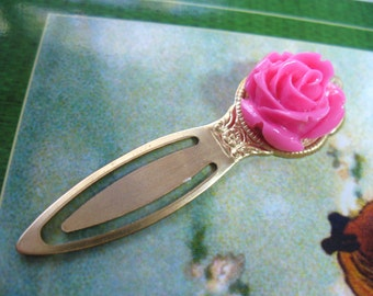 Pink Rose Bookmark, Antiqued Gold Tone Metal Bookmark with Pink Rose Cabochon, Vintage Style, Book Marker, Book Lover, Christmas Gift