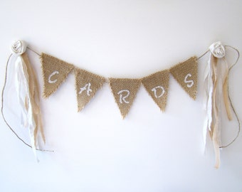 Rustic Wedding Card Box Banner, Card Banner, Shabby Wedding Card Bunting, Country Rustic Mini Burlap Banner, Gift Table Decoration