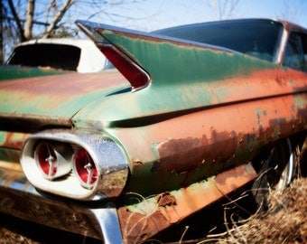 colorful abandoned rusted cadillac caddy with fins 1960s car auto photograph mid century car, bohemian