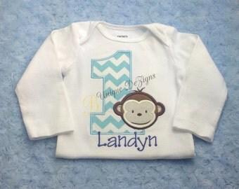 Monkey Applique Shirt, Applique 1st Birthday Shirt, Chevron Shirt or Bodysuit, Boys birthday Shirt