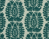 Teal Ikat Upholstery Fabric for Furniture - Textured Woven Medallion Upholstery- Large Scale Ikat - Modern Dark Teal Pillow Covers Online
