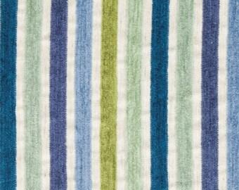 Peacock Blue Chenille Upholstery Fabric for Furniture - Blue Green Stripe Chenille - Custom Mint Green Chenille Pillows - Lime Green Fabric