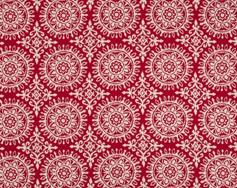 Red Suzani Upholstery Fabric - Woven Red White Geometric Pillow Covers - Bright Red Fabric for Furniture - Custom Suzani Pillows with Piping