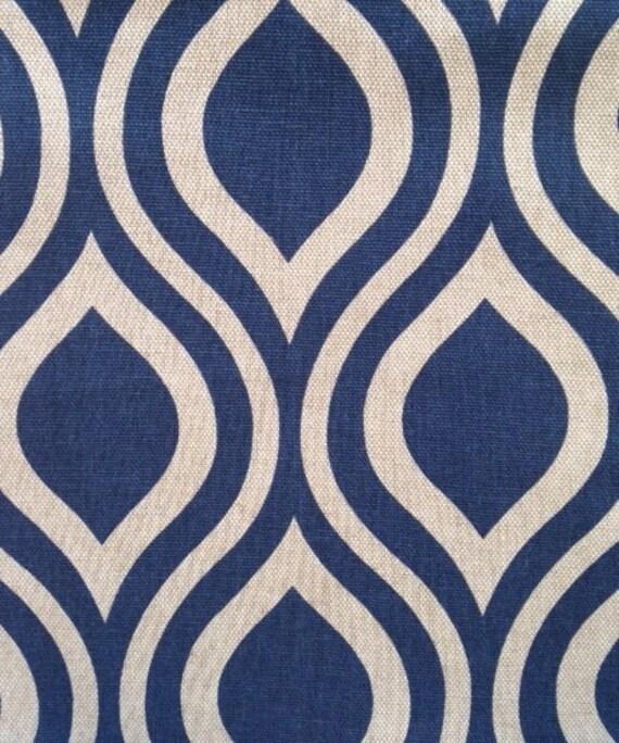 Navy Blue Geometric Fabric - Blue Ogee Curtain Material - Custom ...