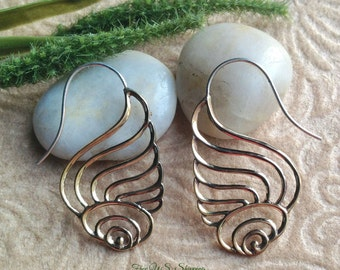 """Tribal Hanging Earrings, """"Swan"""" Brass, Sterling Posts, Handcrafted"""