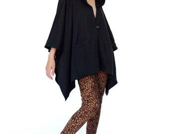 NO.163 Black Cotton-Blend Jersey Cover Me Hoodie Poncho