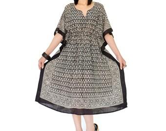 NO.166 Cream and Black Cotton Fleur de Lis Printed Caftan Dress, Bohemian Caftan Dress, Day Dress