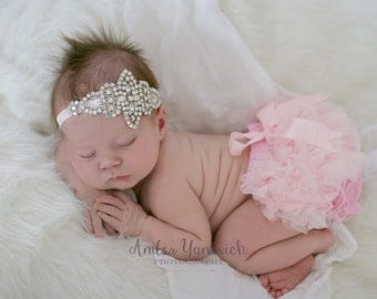 newborn crown headband and diaper cover ruffle tutu bloomers in pale pink with AB crystals newborn set, cake smash set