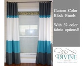 Color block Curtain Panels, Horizontal Stripe Curtain, two panels