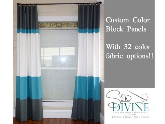 Color Block Curtain Panels Horizontal Stripe Curtain Two