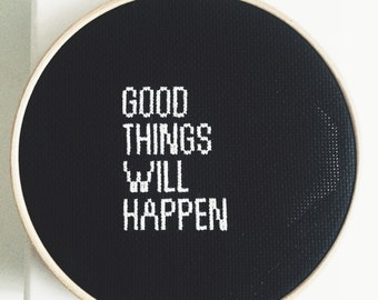 Embroidery Hoop Black & White Quote Contemporary Finished Cross Stitch Large Wall Art Decoration