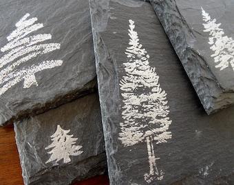 Winter Trees Slate Coasters (Set of 4)  Christmas, Holiday, Secret Santa