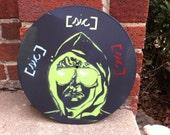 "Unabomber stencil art on 12"" vinyl record. Black and green. Uncle Teddy. Kaczynski."