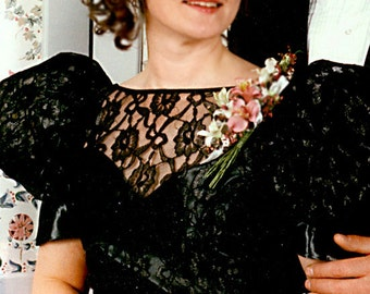 Vintage Black Satin and Lace Formal Gown