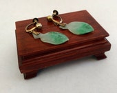 Jadeite Leaf Earrings made with Silver Backings