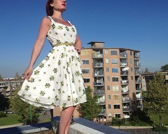 ON SALE -- 50's Repro Handmade EMBROIDED Summer Evening Dress  Rockabilly Viva Las Vegas