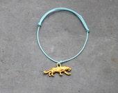 Turquoise tiger cord bracelet / charm bracelet for women