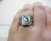 Adjustable Antiqued Silver Locket Ring with Jesus Cabochon