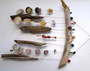 Funky Shell, Bead & Driftwood Windchime / Mobile peacelovedriftwood