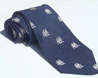 Vintage 1970s Navy Blue Silk Tie with White Zodiac Gemini Pattern